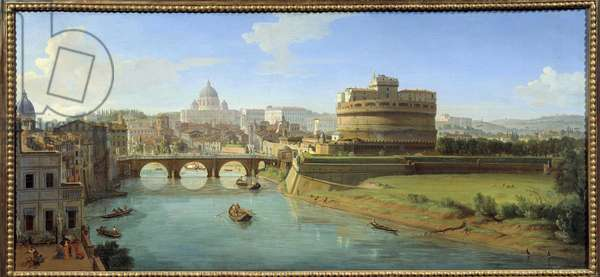 """View of the Castle of Saint Angelo (Sant'Angelo) in Rome Panorama of the city, the Tiber and the Castel Sant'Angelo, mausolee of Emperor Hadrian"""""""" Painting by Gaspare Vanvitelli (Gaspar van Wittel, Caspar Van Vitelli) (1653-1736) 18th century Rouen, Museum of Fine Arts"""