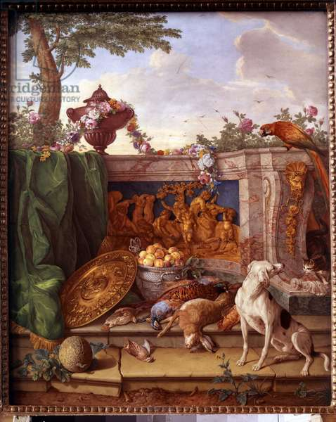 Plaque depicting the hunts of Louis XVI (1754-1793): detail representing a dog keeping game. Painting on porcelain by Philippe Castel (ca. 1746-1797) by Jean Baptiste Oudry (1686-1755) 1778-1781 Sun. 0,39x0,49 m Versailles, musee du chateau.