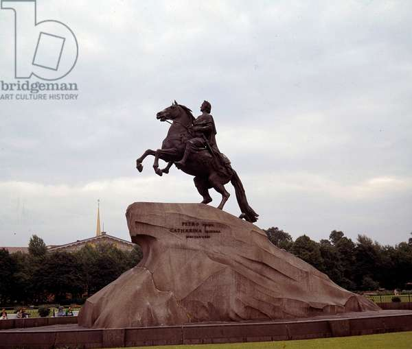 Statue of Peter I of Russia called the Great (1672-1725), Russian tsar called the Bronze Horseman. Sculpture by Etienne Maurice Falconet (1716-1791) commissioned by Catherine II of Russia, 1766-1778. Saint Petersburg, Russia