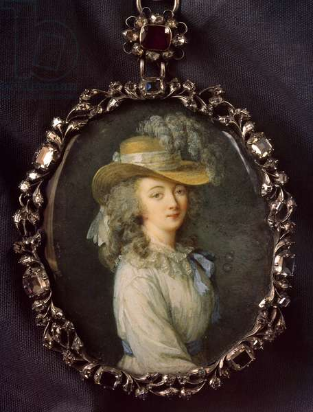 Portrait of Jeanne Becu, Countess (or Madame) du Barry (1743-1793) Miniature painting on ivory attributed to Nicolas Lawreince (Le Jeune) (1737-1807) by Elisabeth Louise Vigee-Le Brun (1755-1842) Sun. 0,16x0,12 m. Paris, Louvre Museum