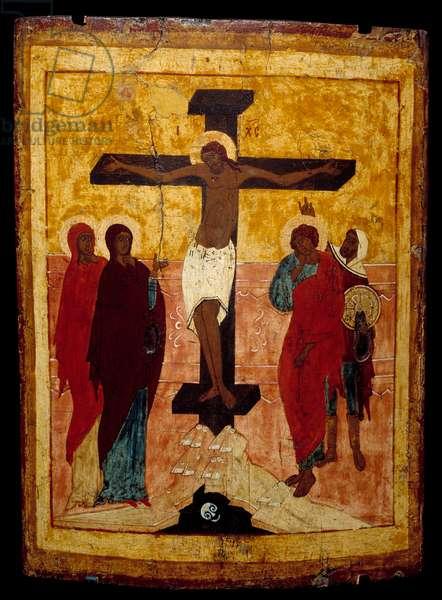 Crucifixion. Russian icon, 1500. Rouen, Museum of Fine Arts