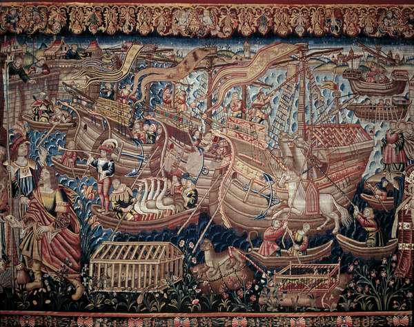 The Portuguese navigator Vasco de Gama (1459-1524) arrived in Calicut (Kozhikode) in India in 1498. Detail of a tapestry. Lisbon