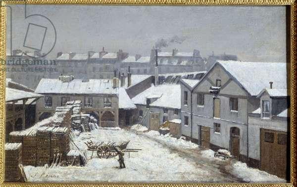 Les faubourgs de Paris sous la neige Painting by Stanislas Lepine (1835-1892) 19th century Sun. 0,26x0,43 m Rouen, Musee des Beaux Arts