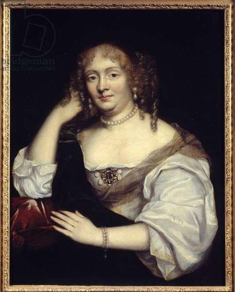 Portrait of Marie de Rabutin-Chantal (Rabutin Chantal), Marquise of Sevigne known as Madame de Sevigne (1626-1696), woman of letters Painting of the French School. 17th century Sun. 0,81 x 0,65 m
