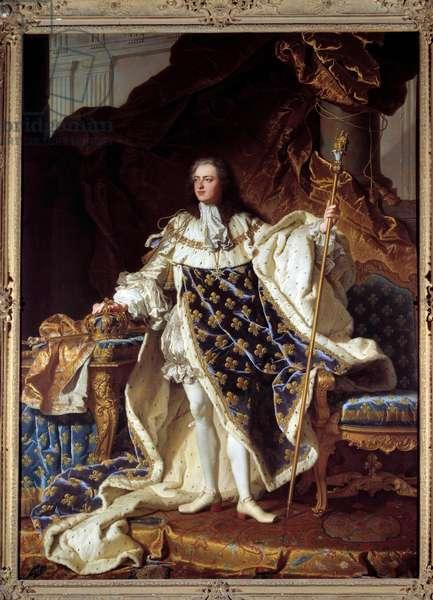 Portrait en pied de Louis XV en costume de corre (1710-1774) Painting by Hyacinthe Rigaud (1659-1743). 1730. Dim. 2,71 x 1,94 m. Versailles, musee du Chateau - Full-length portrait of Louis XV in coronation robes (1710-1774). Painting by Hyacinthe Rigaud (1659-1743). 1730. 2.71 x 1.94 m. Castle museum, Versailles, France