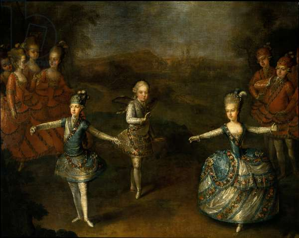 """Representation of the ballet le triumphe de l'amour"""""""" by Christoph Willibald Gluck a Schonbrunn at the marriage of Joseph II with Marie Josephine Antoinette de Baviere on 24 January 1765"""""""" On the right, the future queen of France Marie Antoinette. Detail of a painting by Georges Weikert (1745-1799), 1765. Sun 2.8 x 2.21 m"""