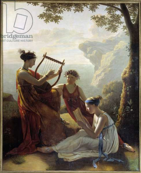 Greek poet Sapho (Sappho) playing lyre and two of her companions Painting by Jacques Louis Grandin (1780-?) 1808 Paris, Musee Marmottan