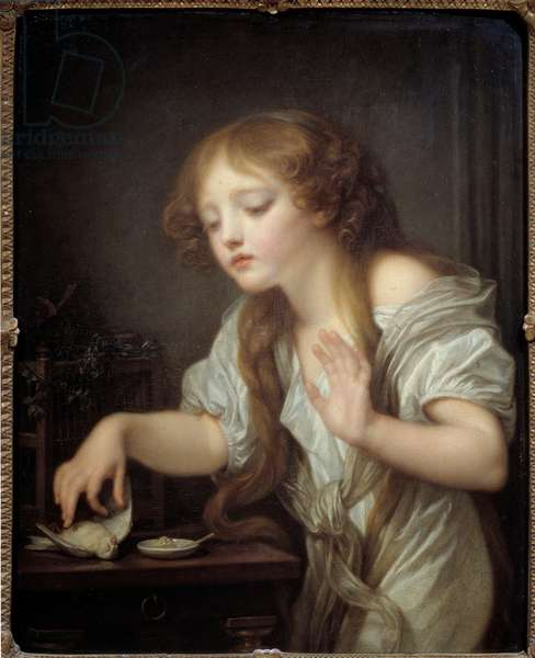 Young girl hesitant to touch a bird for fear that it is dead or the dead bird Painting by Jean Baptiste Greuze (1725-1805) 1800 Sun. 0,68x0,55 m