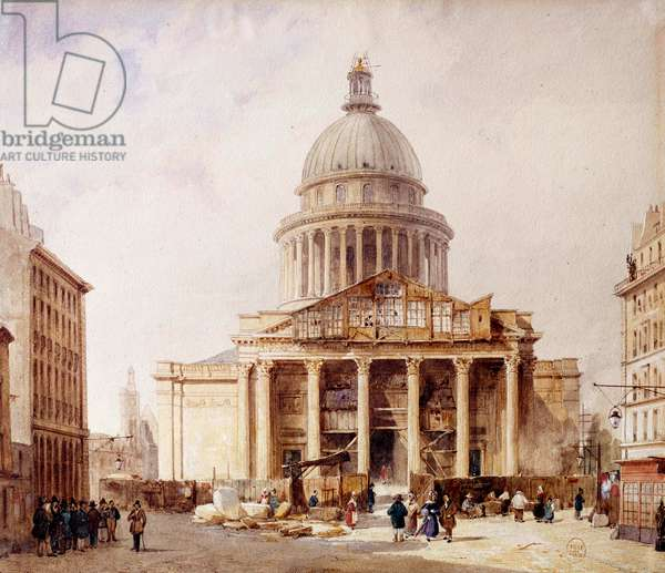 View of the Pantheon under construction in Paris from rue Soufflot The building was built on the project of Jacques Germain Soufflot (1713-1780) on the site of the church of Sainte Genevieve. Watercolour by Francois Etienne Villeret (ca. 1800-1866) 1835. Paris, Musee Carnavalet