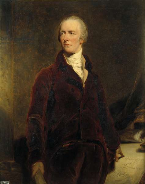 Portrait of William Pitt (1759-1806) Chancellor of the Exchequer of Great Britain Painting by Georges Healy (1808-1894) 19th century Sun. 1,27x1,02m, after Sir Thomas Lawrence (1796-1830), 1844.  - Portrait of William Pitt (1759-1806), Chancellor of the Exchequer of Great Britain. Painting by George Healy (1808-1894), 19th century, after Sir Thomas Lawrence (1796-1830), 1844. 1.27 x 1.02m.