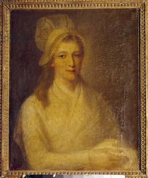 Portrait of Marie Anne Charlotte Corday (1768-1793) Painting by Jean Jacques Hauer (1751-1829) 1793. Dim 0.61 x 0.47 m. Versailles, Chateau Museum