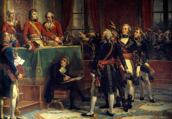 The three consuls: Bonaparte, Cambaceres and Lebrun receiving the oaths of presidents On the right, Emmanuel-Joseph (Emmanuel Joseph) Sieyes (1748-1836) and Pierre-Roger (Pierre Roger) Ducos (Roger Ducos) (1747-1816). Painting by Louis Charles Auguste Couder (1789-1873) 1856 Sun. 4,2x4,2 m.