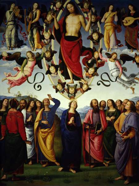 The ascension of Christ Jesus Christ is represented in a mandorla. Detail. Painting by Pietro Vannucci dit Il Perugino (The Perugin) (1450-1523) 1496 Sun. 3,25x2,65 m Lyon, Musee des Beaux Arts