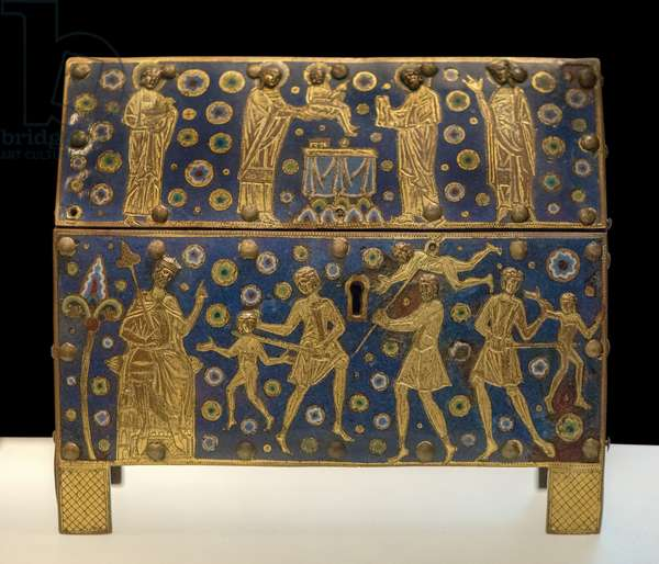 Art France Chasse: Massacre des Innocents, Presentation at the temple (copper, gilding, email champleve, provenance Limoges, ca. 1190 - 1210) Musee du Louvre.