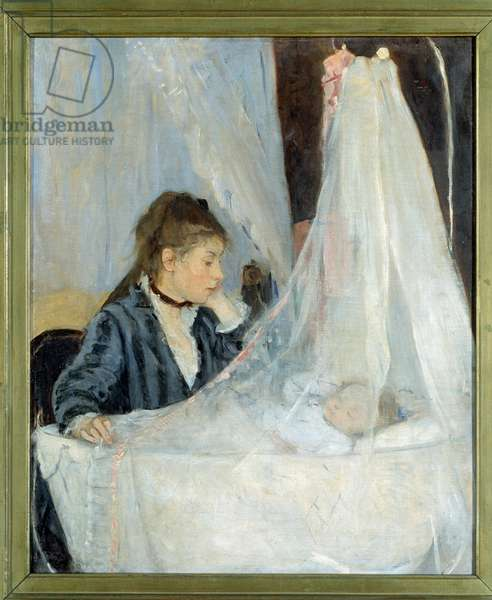 The cradle Representation of the artist's sister, Edma, watching over her daughter's sleep, Blanche - Painting by Berthe Morisot (1841-1895) 1872. Dim. 0,56 x 0,46 m - Paris, musee d'Orsay - The Cradle (Edma Morizot (1839-1921), the artist's sister watches over her sleeping baby) - Painting by Berthe Morisot (1841-1895), oil on canvas (56x46 cm), 1872 - Musee d'Orsay, Paris, France
