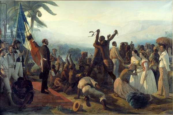 Proclamation of the abolition of slavery in the French colonies on April 23, 1848 Painting by Francois Auguste Biard (1799-1882) 19th century. Dim. 2,61 x 3,91 m Versailles. Musee Du Chateau - Proclamation of the abolition of slavery in the French colonies, 23 April 1848. Painting by Francois Auguste Biard (1799-1882), 19th century. 2.61 x 3, 91 m.