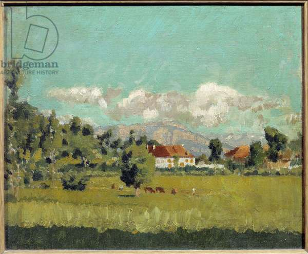 Landscape of the Dauphine Painting by Pierre Bonnard (1867-1947) 1888 Sun. 0,19x0,29 m Private collection