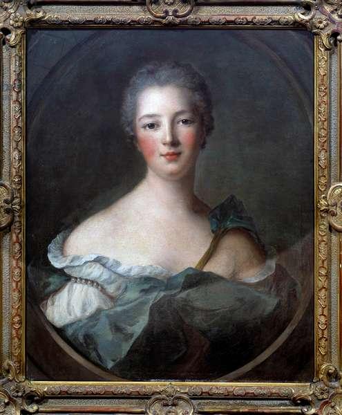 Portrait of Jeanne Antoinette Poisson, Marquise of Pompadour (dit Madame de Pompadour, 1722-1764), favorite of Louis XV Painting from the workshop of Jean Marc (Jean-Marc) Nattier (1685-1766) 1748 Dim 0,66x0,53 m