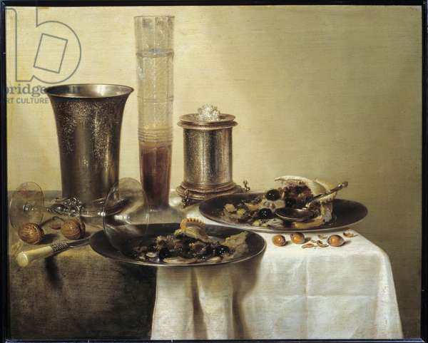 Still Life with Silver Cup Painting by Willem Claeszoon Heda (1594-1670) 1637 Dim. 0,44 x 0,55 m Paris, musee du Louvre - Still Life with silver gobelet. Painting by Willem Claeszoon Heda (1594-1670), 1637. 0.44 x 0.55 m. Louvre Museum, Paris
