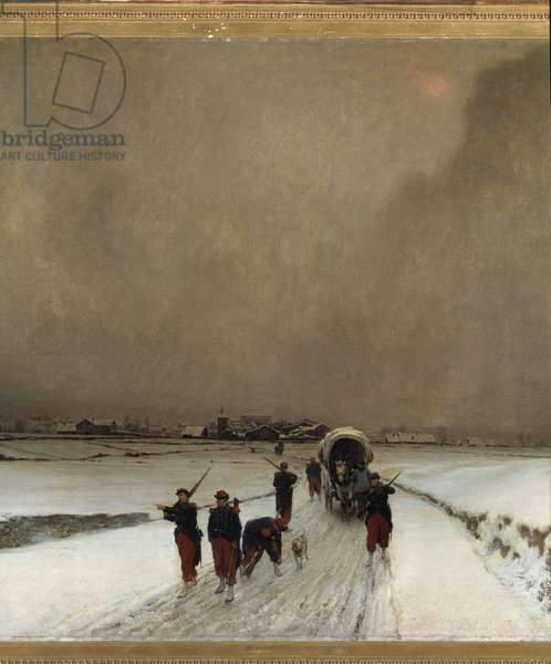 """War of 1870: """""""" the trainards, snow effect"""""""" Painting by Auguste Chenu Dit Fleury (1833-1875) 1870 Sun. 1,7x1,5 m Paris, musee d'orsay"""