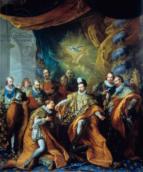 Institution of the Order of the Holy Spirit (Order of the Holy Spirit) by Henry III Painting by Louis Michel van Loo (1707-1771). 18th century. Paris, Musee de la Legion d'Honneur - Institution of the Order of the Holy Spirit by Henry III. Painting by Louis Michel van Loo (1707-1771). 18th century. Legion d'Honneur museum, Paris