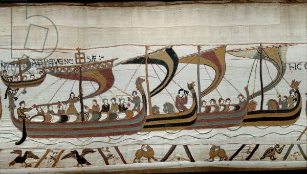 Conquete of England by the Norman Duke William the Conquerant (1027-1087) in 1066: the Norman fleet approaches the English coast at Pevensey Detail of the Bayeux Tapestry or Embroidery of Queen Mathilde, 1077 (70,34x050 m). Library of Bayeux. Bayeux, Calvados