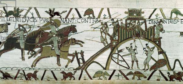 Siege of the city of Dinan (Cotes d'Armor): the army of William the Conquerant (1028-1087) attacks the castral clog of the city. Detail of Bayeux Tapestry or Embroidery of Queen Mathilde, 1077 (70,34x050 m). Library of Bayeux. Bayeux, Calvados