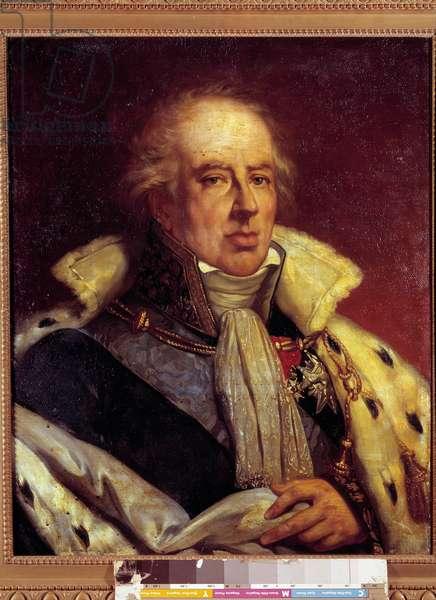 Portrait of Francois - Alexandre - Frederic, Duc de la Rochefoucauld Liancourt, economist (1747 - 1837) represented in costume of Pair de France under the Restoration (h s/t 0.72 X 0.57). Versailles. Musee du Chateau.