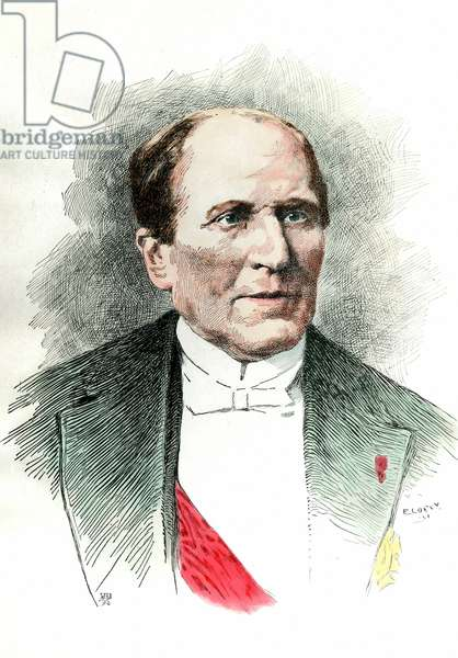 Portrait du Georges Eugene Haussmann appele Baron Haussmann  (1809 - 1891) prefet de la Seine durant le Second Empire. Gravure du 19eme siecle. Collection privee.