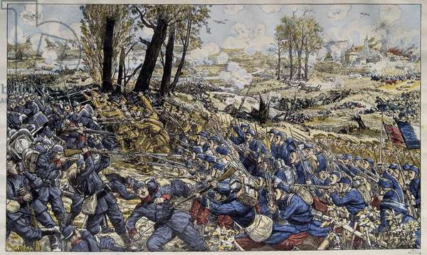 First World War (1914-1918): the Battle of the Marne from August 7 to 15, 1914. Illustration by Ferdinand Desnier (20th century). Paris, Museum of the Two World Wars DR