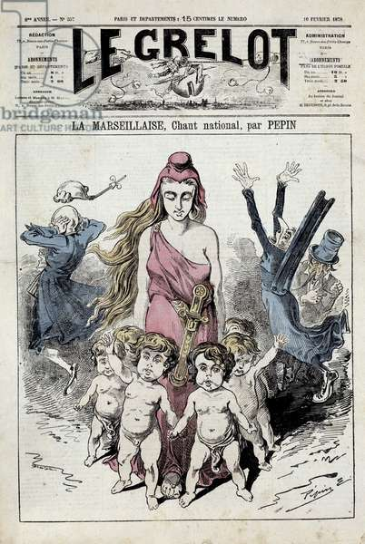 "One of """" The bell"""" representing an allegory of the national anthem """" La Marseillaise"""""" advancing while the nobles clog their ears while fleeing. Illustration by Pepin. 10/02/1878. Private Collection"