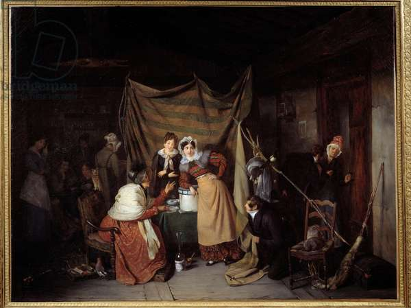 A Sibylle Saying Good Adventure to Young Men Painting by Francois Auguste Biard (1799-1882) 1827 Lyon, Musee des Beaux Arts