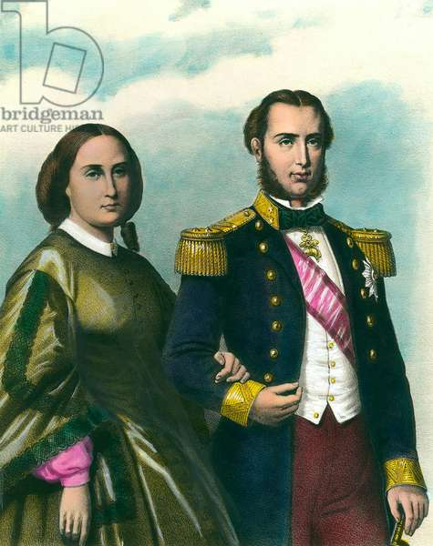 Portrait of Maximilian I (1832-1867) Emperor of Mexico and his wife Charlotte of Belgium (1840-1927). 19th century illustration. Private collection