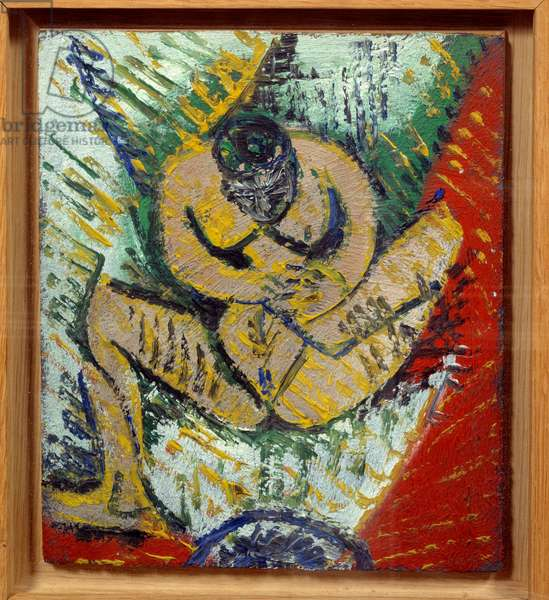 Little naked sitting. Oil on wood. Dim: 0,17 x 0,15m. Painting by Pablo Picasso (1881-1973), 1907. Paris, Musee Picasso.