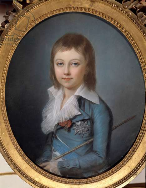 Portrait of Louis XVII (1785-1795) depict in dolphin Pastel painting by Alexander Kucharski (1741-1819). Dim 0.62 x 0.52 m. Versailles, Castles of Versailles and Trianon