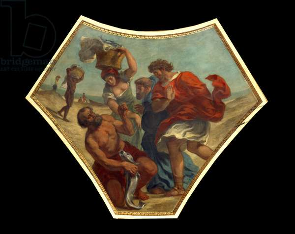 The Drachma of the Tribute found by St. Peter in the hearing of a fish This money will be used to pay the tax to the collector at the entrance of the city of Capharnaum (or Kefar Nahum, city of Galilee, auj. in Israel). Painting by Eugene Delacroix (1798-1863) decorating the dome of the library of the National Assembly, 1843 Paris, Palais Bourbon