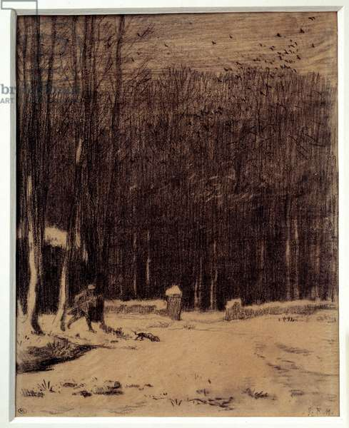 The entrance to the Barbizon forest, snow effect Black pencil drawing by Jean Francois Millet (1814-1875) Dim. 0,28 x 0,22 m Paris. Orsay Museum