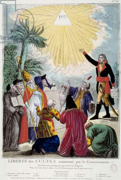 Representation of the freedom of worship of all religions maintained by Napoleon Bonaparte (1769-1821): the first Consul indicates the triangle of the Trinity symbolizing God coming by the representatives of each religion: Catholic eveque, a Jew, a Quaker, a Protestant minister, a Chinese priest (Buddhist), an Orthodox Greek, a Mexican, a Muslim and a Hindu. Allegory of the Concordat of 1801. Engraving of 1801 Paris, Musee Carnavalet
