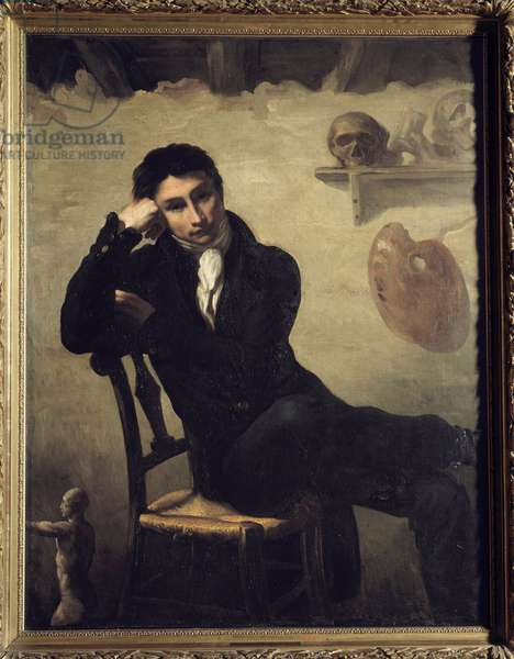 Portrait of an artist in his studio Painting by Theodore Gericault (1791-1824) 19th century Sun. 1,47x1,14 m .