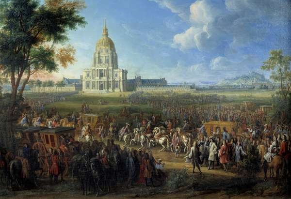 Visit of King Louis XIV to the church of the Royal Hotel des Invalides newly completed July 14, 1701 Painting by Pierre Denis Martin (1663-1742) 1701 Sun. 1,1x1,6 m Paris, Musee Carnavalet