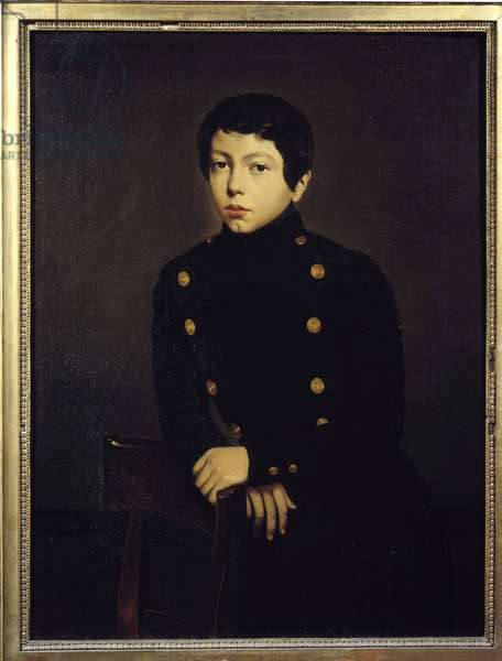 Portrait of Ernest Chasseriau (1823-1870) pupil of the Naval School of Brest, brother of the artist Painting by Theodore Chasseriau (1819-1856) 1836 Sun. 0,92x0,73 m