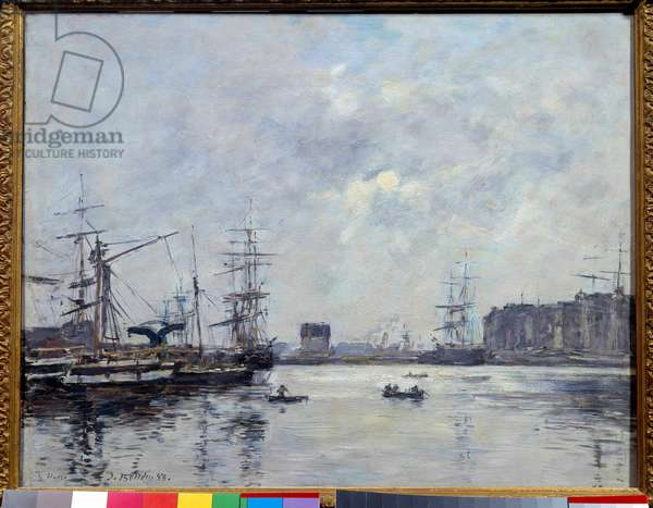 The port of Le Havre basin of the bar. Painting by Eugene Louis Boudin (1824-1898), 1888. Oil on wood. Dim: 0.32 x 0.41m. Paris, Musee d'Orsay