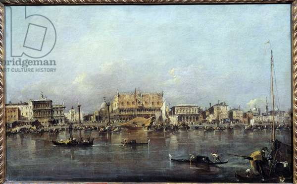 The Doge's Palace seen from the sea Painting by Francesco Guardi (1712-1793) 18th century Sun. 0,42x0,68m.