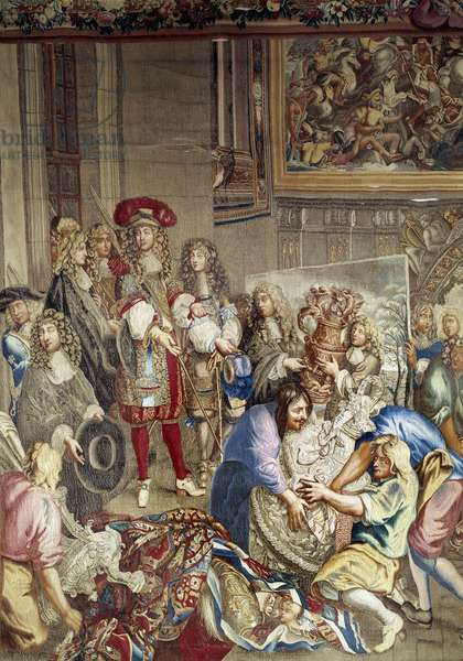 Visit of Louis XIV to the Manufacture des Gobelins in the presence of Jean Baptiste (Jean-Baptiste) Colbert (1619-1683) (in profile, on the right of the king) and the painter Charles Lebrun (Le Brun) (1619-1690), October 15, 1667 after the cartons of Saint Andre - Tapestry of the workshop Etienne Le Blond (1701-1727) Detail - Dim Versailles, castle museum