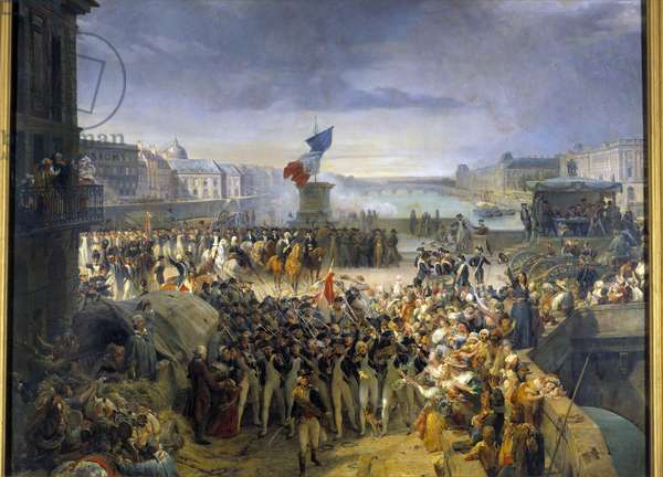 The National Guard of Paris, assembled on Pont Neuf, left for the army in September 1792. Painting by Leon Cogniet (1794-1880), 1833-1836, Oil on canvas, 1,89x2,04 m,  - National Guard of Paris, gathered on the Pont Neuf, leaves for the army in September 1792. Painting by Leon Cogniet (1794 - 1880), 1833-1836, Oil on canvas, 1,89 x 2,04 m, Versailles, Castles of Versailles and Trianon
