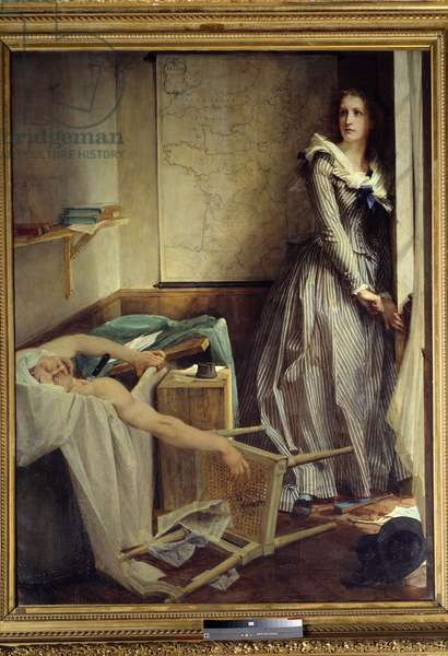 """French Revolution: """""""" Charlotte Corday (1768-1793) at the time of the assassination Jean Paul Marat"""""""" Painting by Paul Baudry (1828-1885), 1860, 203 x 154 cm. Nantes, Musee des Beaux Arts - French Revolution: Charlotte Corday (1768-1793) killing Jean Paul Marat """""""". Painting by Paul Baudry (1828-1885), 1860, 203 x 154 cm. Beaux-Arts Museum, Nantes, Paris"""