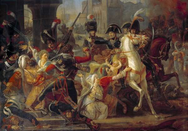 """Campaign (Expedition) of Egypt (1798-1801): """""""" Clemence of General Bonaparte towards an Arab family when the French army entered Alexandria on July 3, 1798."""" Painting by Guillaume Francois Colson (1785-1850), 1812. Oil on canvas. Dim: 3,56 x 4,86m."""