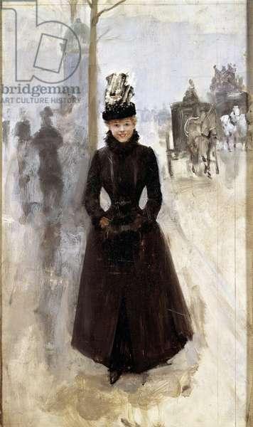 Parisienne sur le boulevard ou woman au manchon Painting by Jean Beraud (1849-1935) 19th century Tours, Musee des Beaux Arts