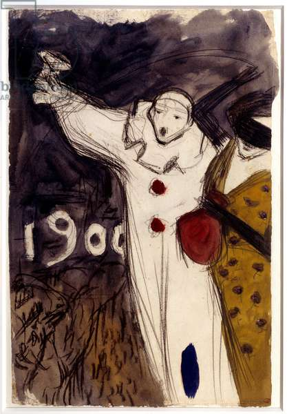 Project for a carnival poster. Drawing by Pablo Picasso (1881-1973), 1899. Oil and black pencil. Dim: 0,48 x 0,32m. Paris, Musee Picasso.