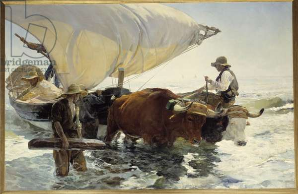 Return from fishing, towing the boat Painting by Joaquin Sorolla y Bastida (1863-1923) Sun. 2,6x3,2 m. 19th century Paris, musee d'Orsay